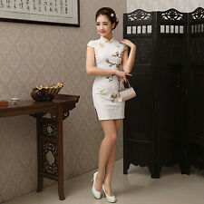 Lady Womens Qipao Chinese Embroidery dress Vintage Evening daily Cheongsam White