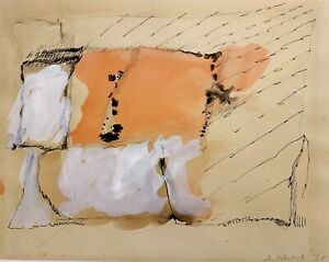 Y. MATSUMOTO 20th c. Japanese 1960s ABSTRACT EXPRESSIONIST PAINTING Mixed Media