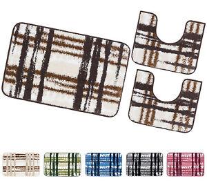 Tappeto bagno moderno parure set 3 pezzi morbido assorbente antiscivolo lavabile