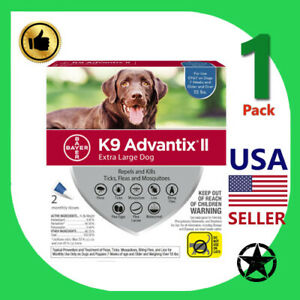 1 Pack K9 Advantix II for Extra Large Dogs Flea & Tick Treatment Over 55 lbs