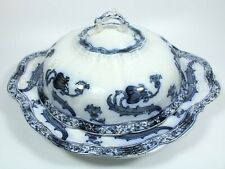 Flow Blue Transferware Covered Butter Dish England