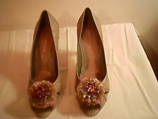 Enzio Angiolini  multi - color heels, 8.5 M, fabric/leather uppers, 4 in. heel