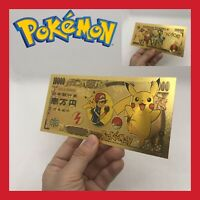 BILLET YEN TICKET OR POKEMON FIGURINE PIKACHU CARTE COLLECTOR GOLD JEU GO ÉPÉE