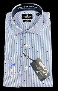 Men's PSYCHO BUNNY Blue White Striped Dress Shirt 15 32/33 NWT NEW Cotton +