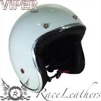 VIPER RIDER RS05 WHITE LOW PROFILE SLIM FIT MOTORCYCLE CRUISER SCOOTER HELMET
