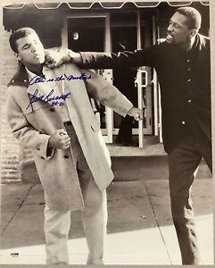Bill Russell Signed Photo 16x20 Basketball Autograph Insc B&W Punching Ali PSA 2
