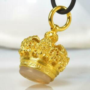 Gold Vermeil Sterling Silver Chalcedony Fob Seal Stamp Crown Pendant 14.49 g