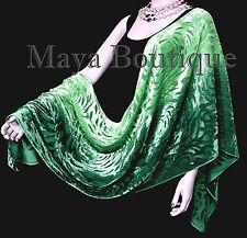 Maya Matazaro Hand Dyed Emeral Green Camellia Shawl Wrap Scarf Burnout Velvet