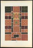Medieval Art Lithograph Print 1871 by Racinet ornamental wall paper design reds