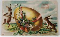 Easter Greeting Rabbits Hauling Large Egg Embossed 1908 Woodland Md Postcard G1