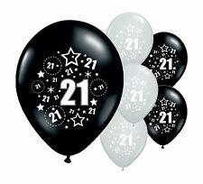"""10 x 21ST BIRTHDAY BLACK AND SILVER 12"""" HELIUM OR AIRFILL BALLOONS (PA)"""