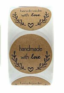 "~*~50 x Kraft  ""handmade with love"" Olive Branch Design Wedding/Business 25mm~*~"
