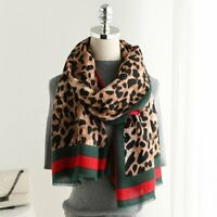 Women's Leopard Print Stripe Tassels Soft Long Scarf Shawl Head Wrap 180cm*90cm