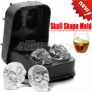 Skull Shape 3D Ice Cube Mold Maker Bar Party Silicone Trays Chocolate Mould DIY