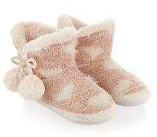 Mädchen Hausschuhe Monsoon Flauschig Rosa Herz Stiefel Kinder Größe 7-8 UK