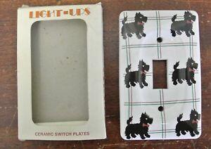 Jasco Light-Ups Ceramic Switch Plate Cover Scottish Terrier Black Dog Vintage