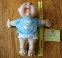 Cabbage Patch Kids Doll Baby Boy Blue Eyes Bald blue shirt birth Announcement