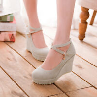 UK Women Round Toe Mary Jane Shoes Ankle Strap Wedge High Heel Buckle Shoes Pump