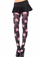 Sexy Black w/ Sheer Pink Star Tights Goth Doll Punk Rocker Harajuku Roller Derby