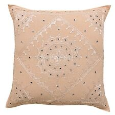 Decorative Cotton Pillow Cover Bohemian 24x24 Embroidered Mirrored Cushion Cover
