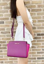 Michael Kors Selma Medium Messenger Bag Crossbody Pomegranate Fuchsia Pink