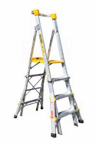 Gorilla Aluminium Adjustable Platform Ladder 1.2m - 1.8m 180kg Industrial