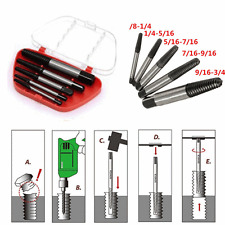 5pc Screw Extractor Easy Out Set Drill Bits Guide Broken Damaged Bolt Remover