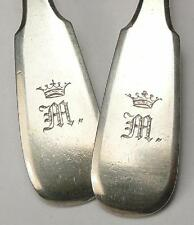 RARE 1872 TWO SPOONS SILVER 84 MONOGRAM RUSSIAN IMPERIAL ANTIQUE RUSSIA ROMANOV