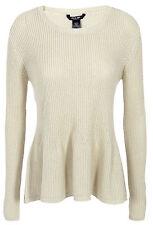 Plus Size UK 16 - 30 Ladies Oatmeal Peplum Ivory Off-white Jumpers Sweaters 18 Beige