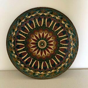 Vintage Boho Mandala Brass Bronze Byzantine Enamel Mosaic Wall Plate Cloisonné