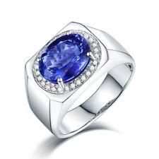18K White Gold Engagement Diamonds 3.5ct Tanzanite Gemstone Ring Men Jewelry