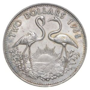 SILVER Roughly Quarter Size 1966 Bahama Islands 2 Dollars World Silver Coin *868