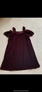 Next Girls Burgundy Velvet Party Dress Age 9