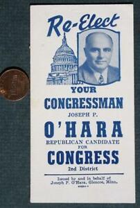 1941-59 Minnesota Republican Joseph P. O'Hara for Congressman photo ink blotter!