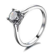 10K White Gold Cubic Zirconia Sparkling Solitaire Wedding Jewelry Solitaire Ring