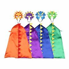 Happium - Dinosaur Costumes For Kids - 4 Capes, 4 Masks Birthdays Dress-Up Fancy
