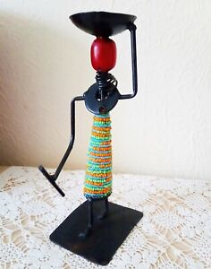 """ORIGINAL Vintage Beaded Masai metal Candlestick 7"""" Tall"""