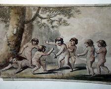 Original 1675 Cupids At Play Watercolor Sgnd FB