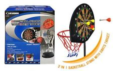 2 in 1 New Kids Basketball With Dart Target Board Stand Backboard Hoop Ball Game