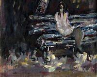 """11Russischer Realist Expressionist Öl Leinwand """"Mädchen an der Bank"""" 49 x 38 cm"""