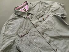 CAVI Men's Short Sleeve Stripped Shirt~ XL Gray Pink In Excellent Condition
