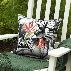 "Allen + Roth | Floral Aquarius Tropical Outdoor 16.5"" Throw Pillow | Cream Black"