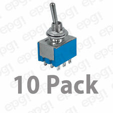 3PDT 9 CONTACTS (ON/ON) MINIATURE TOGGLE SWITCH 6AMPS @ 125VAC #66-1210-10PK