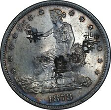 1878-S Trade Dollar Choice AU Condition HEAVILY Chop Marked, Full Mint Luster