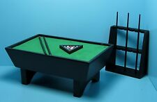 Dollhouse Miniature Pool Table in Black with Complete Accessories ~ CLA91322