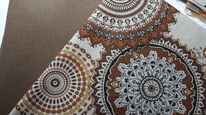 Stoffpaket, Taschenstoff Canvas  Kreise + uni Canvas braun 2 x 50 x 140 cm