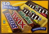 NEW M&M SNICKERS TWIX MILKY WAY VARIETY PACK 30 FULL SIZE PACKS 53.66 OZ BOX BUY
