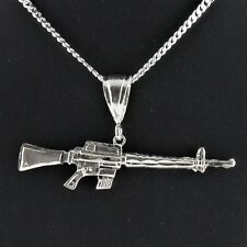 "3"" Solid 925 Sterling Silver M16 AR15 Rifle Pendant Military Choppa Machine Gun"