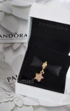 PANDORA | GENUINE 14ct Gold Sparkling Pave Diamonds Hanging Star Charm: 750808D