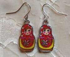 Red Flowers Jewelry Hippie Unique New Russian Nesting Doll Earrings Silver